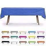 6 Pack, 54' x 108' Royal Blue Rectangular Plastic Table Cover, Plastic Table Cloth Reusable (PEVA) (Royal Blue)
