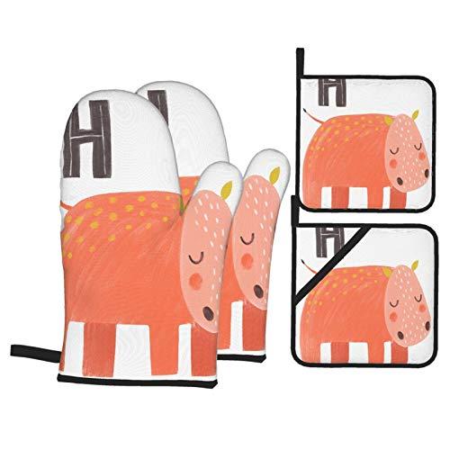 Guante de Horno de 4 Piezas y agarradera,Animales Alfabeto H Hipopótamo,Guantes Aptos para Alimentos Antideslizantes Impermeables y Resistentes al Calor para microondas cocinar y Hornear en la Cocina