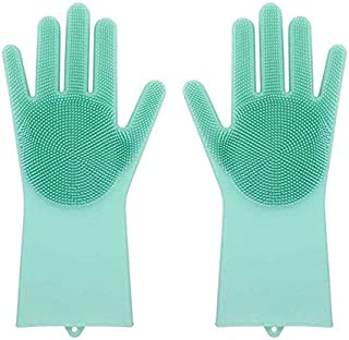 Upgraded Magic Reusable Silicone gloves with Wash Scrubber Heat Resistant for Cleaning, Household, Washing the Car, Washing Pets