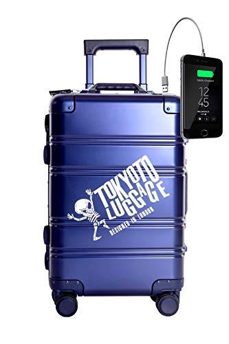 TOKYOTO - Maleta de Cabina 100% Aluminio Puro Metálica Juvenil Ultraligera Equipaje de Mano, 55x40x20 cm | Trolley de Viaje Ryanair, Easyjet | Maleta Rígida Blue Logo