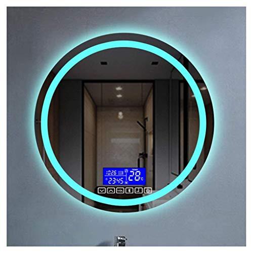Espejo de baño LED Iluminado de 700 x 700 mm, con función de atenuación del Altavoz Bluetooth Incorporado, Almohadilla antivaho e Interruptor de Sensor táctil (Color: luz cálida, tamaño: 700 mm)