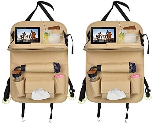Rosei — Protector de respaldo para coche, estampado multicolor, con bolsillo para iPad/tablet de 12 pulgadas, soporte para mesa de comedor o tablet (B)