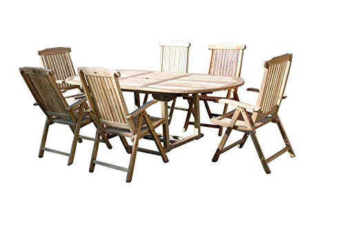 SAM 7-TLG Gartengruppe Aruba, Teak-Holz, Gartenmöbel, Sitzgruppe 1 x Tisch + 6 x Hochlehner