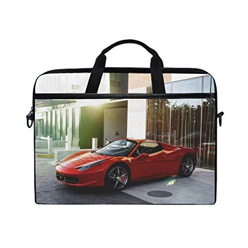 458 Spyder Ferrari Red Side View Laptop Shoulder Messenger Bag Case Sleeve for 14 Inch to 15.6 Inch with Adjustable Notebook Shoulder Strap