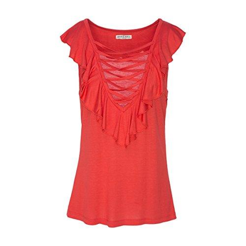 Brave Soul Camiseta sin mangas para mujer, con volantes, cordones, cuello en V, monocolor, Kevan rojo L