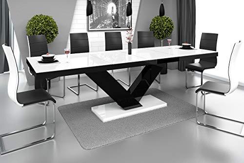 HU Design Esstisch HE-999 Hochglanz oder Matt ausziehbar auf 3 verschiede Maße 160/208 / 256 cm (Weiß Hochglanz/Schwarz Hochglanz)