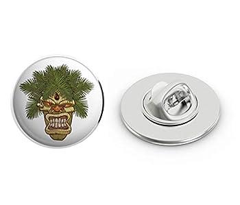 BRK Studio Evil Angry Monkey Face Hawaiian Tiki Totem Pole Cartoon Round Metal 0.75  Lapel Pin Hat Shirt Pin Tie Tack Pinback