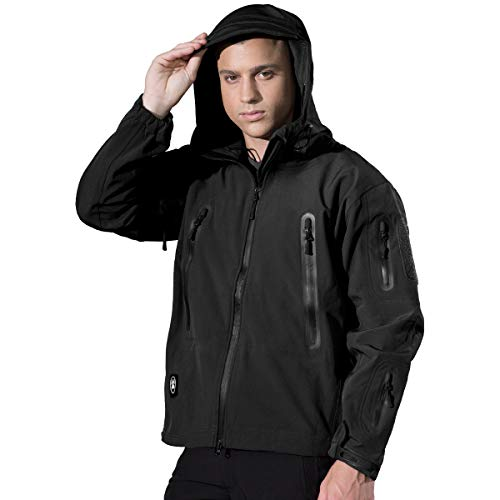 FREE SOLDIER Winter Tactical Fleece Jackets for Men Military Softshell Windbreaker Jacket with Hood for Ski Hiking(Black,XL)