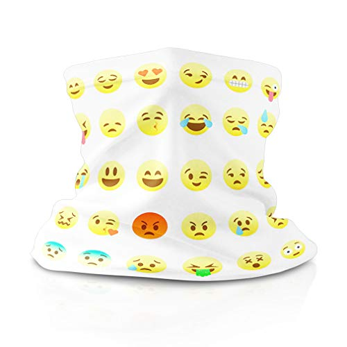 Polyester Neck Gaiter Face Cover Emoji White Yellow Headwrap Balaclava