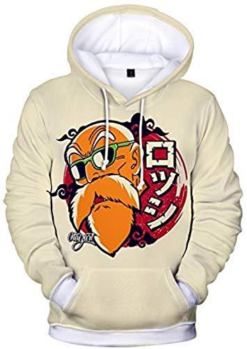 Bkckzzz Teen s Unisex Hoodies Dragon Ball Z Goku 3D Personalised Art Print Pullover Sportswear Sweatshirt Tops@XXS(Height:130-140cm)_2723apricot_Master_Roshi-3