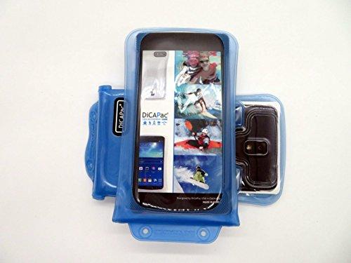 DiCAPac WP-C2 Universelle wasserdichte Hülle für Oppo Find 7 / Find 7a / N1 Mini / R5 / U3 Smartphones in Blau (Doppel-Klettverschluss, IPX8-Zertifizierung zum Schutz vor Wasser bis 10 m Tiefe; integriertes Luftkissen treibt auf dem Wasser und schützt das Gerät; extraklare Polycarbonat-Fotolinse; inklusive Trageriemen)