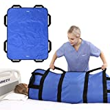 ZHEEYI Multipurpose 48' x 40' Positioning Bed Pad with Reinforced Handles - Reusable & Washable Transfer Sheet for Turning, Lifting & Repositioning - Double-Sided Nylon Fabric, Blue