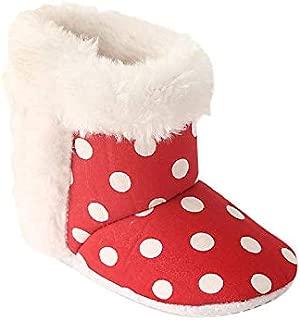CHIU Fur Polka Red Booties for Baby Girl & Boys