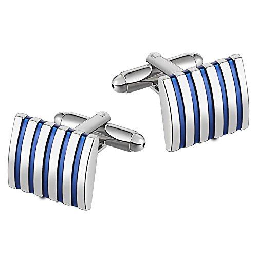 Beydodo 1 Paar Herren Edelstahl Manschettenknöpfe Hochzeit Rechteck Blau Streifen Manschettenknöpfen Silber