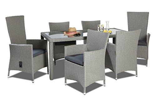 Hochwertige Garten Tischgruppe bestehend aus einem Tisch und sechs Stühlen Polyrattan mit rostfreiem Alugestell Gartenstuhl Sessel Rattan Stuhl...