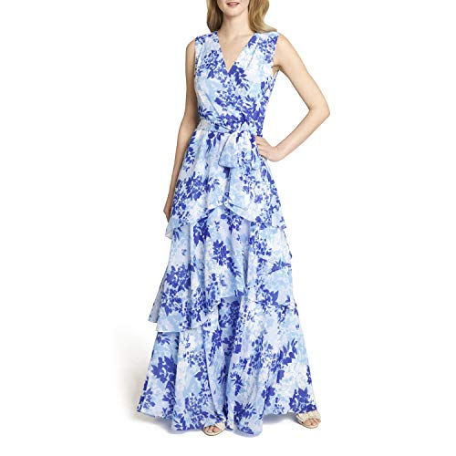 Tahari ASL Women's Sleeveless Surplus Watercolor Chiffon Tiered Gown, Blue Water Floral, 8