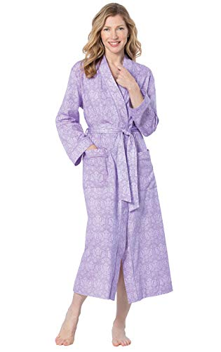PajamaGram Robes for Women Cotton - Robe Womens, Lavender Damask, XS/SM, 2-8