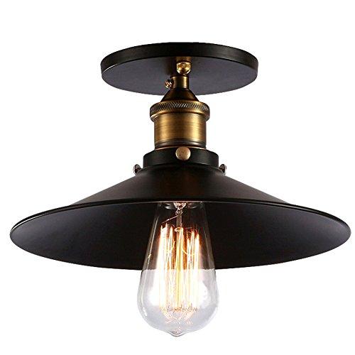 Fuloon Lampe Vintage Industrie, E27 Deckenleuchte Industrielampe Retro Edison Loft Pendelleuchte Lampenschirm für Cafe Bar DIY Balkon Veranda Esszimmer Küche Lampe leuchte Schwarz