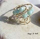 Magie di Trilli Anello artigianale donna in filo per gioielli argentato, con cristalli verde acqua, regolabile - Idea regalo compleanno
