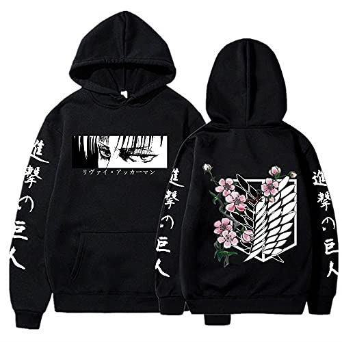 Anime Attack on Titan Hoodie Long Sleeves Pullovers Tops Unisex Clothes Black