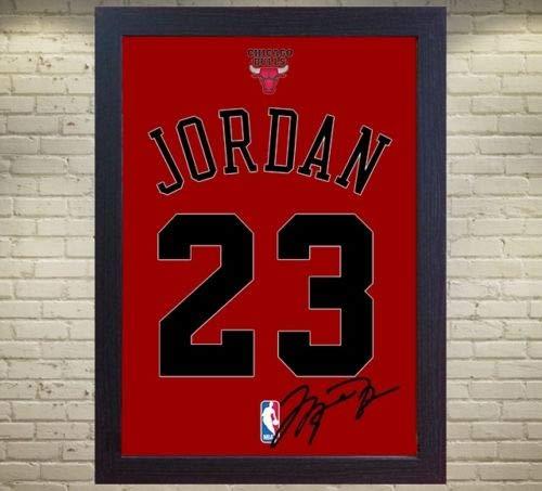 SGH SERVICES New Michael Jordan Chicago Bulls Autogramm, gerahmt, 100% Baumwolle