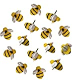 EnewLife 30 Pcs Creative Decorative Cute Bees Thumb Tacks ThumbNails PushPins Push Pins Soft Flat for Photos Wall, Maps, Bulletin Board or Corkboards (30 Pcs Bees Pins)