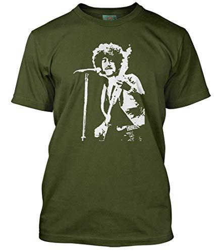 BathroomWall Phil Lynott Inspired Thin Lizzy, Men's T-Shirt, Medium, Military Green