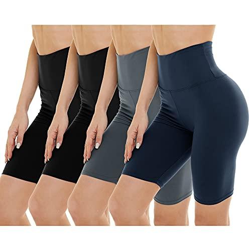 Paquete de 4 pantalones cortos de motociclista para mujer, cintura alta, control de abdomen, pantalones cortos de entrenamiento para yoga, correr, atlético, Negro/Negro/Gris/Azul...