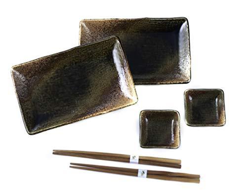 Hinomaru Collection japanisches Geschirr, 6-teiliges Sushi-Geschirr-Set, rechteckig, Sushi-Teller, Schüssel, Essstäbchen, Sushi-Dinner-Set, hergestellt in Japan Braun Raku