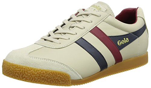 Gola Herren Harrier Leather Sneaker, Beige (Ecru/Navy/Burgundy), 42 EU