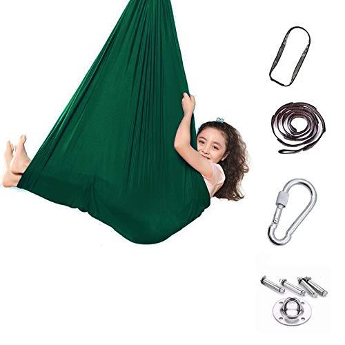 zyy Columpio Terapéutico Interior para Niños Hamaca Suave con Necesidades Especiales para Niños Yoga Integración Sensorial Camping Al Aire Libre (Color : Dark Green, Size : 100x280cm/39x110in)