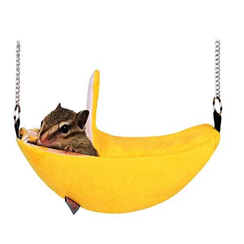 Goodplan 1 Stücke Pet Banana Form Hamster Warme Hängende Bett Kreative Pet Hängen Schaukel Spielzeug Heimtierbedarf für Kleinen Haustiergebrauch (Gelb)
