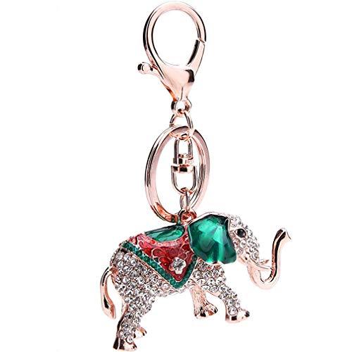 Schlüsselanhänger Taschenanhänger Strass Keychain Elegant Elefant Metall Auto-Anhänger,Glitzer Schlüsselring Tasche-Anhänger Keychain Dekor (Grün)