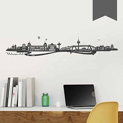 WANDKINGS Wandtattoo Skyline Wuppertal (mit Sehenswürdigkeiten und Wahrzeichen der Stadt) 150 x 26 cm dunkelgrau - erhältlich in 33 Farben