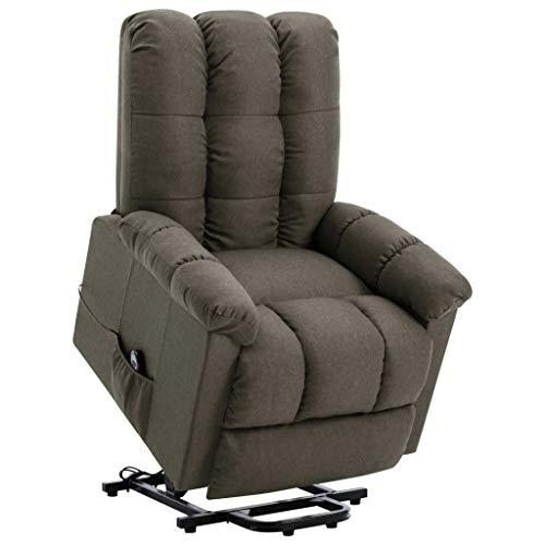 vidaXL Sessel mit Aufstehhilfe Elektrisch Aufstehsessel Liegesessel Fernsehsessel Relaxsessel TV Ruhesessel Polstersessel Taupe Stoff