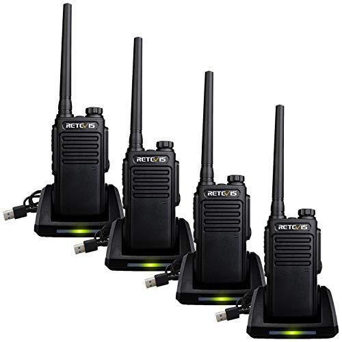 Retevis RT647 Walkie Talkie Impermeable, Radio Portátil, IP67 PMR446 Sin Licencia, Radio Bidireccional Larga Distancia con Base de Cargador USB para Rescate, Seguridad, Conserje(Negro, 4 Piezas)