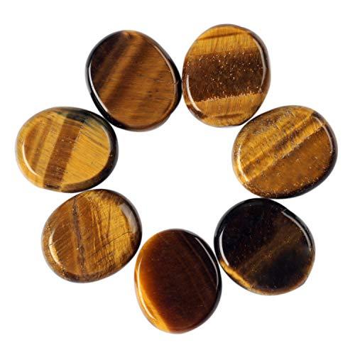 Natural Yellow Tiger Eye 7pieces/lot Palm Stone Reiki Healing Chakra Free Pouch (Yellow Tiger Eye)