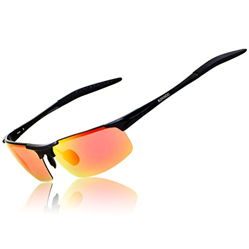 Ronsou Men Sport Al-Mg Polarized Sunglasses Unbreakable for Driving Cycling Fishing Golf black frame/red lens