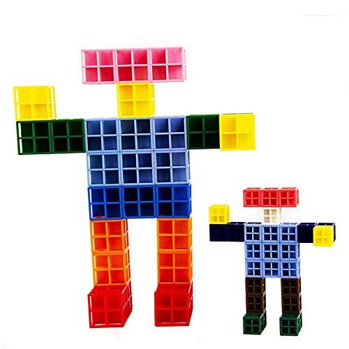 Liuxiaomiao-Toy Blocs Jouets Enfants 3-12 Ans Plastique 45 Grandes Carrés Creux Carrés Puzzle Démontage Enfants Jouets pour la Famille de la Maternelle (Color : Multi-Colored, Size : One Size)