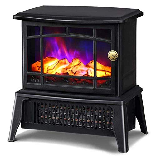 Freestanding Electric Fire Place, Indoor Heater Log Wood Burning Effect Flame Portable Fireplace Stove, 2 Heat Settings 750-1400W