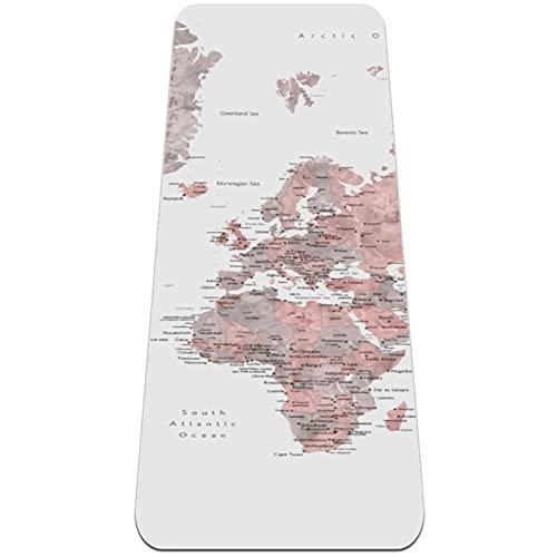 Esterilla Yoga,Mapa del mundo de la acuarela detallada rosa y gris ,Esterilla Deporte Antideslizante Ecológica y 100% Natural de,No tóxico,para Pilates,Fitness