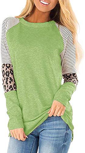 Aswinfon Camiseta de Manga Larga para Mujer Casual Cuello Redondo tee T-Shirt Tops Damas