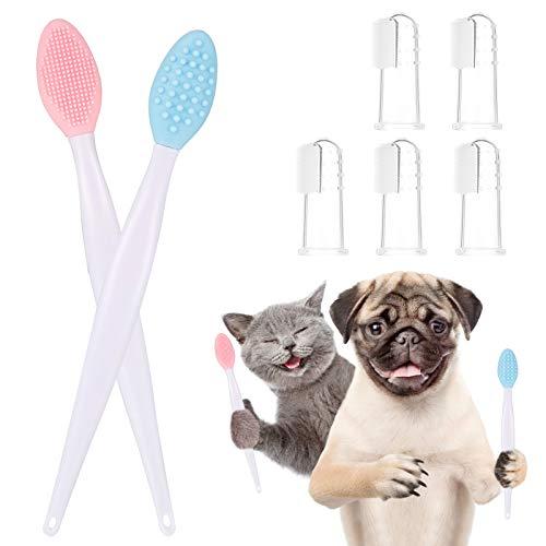Heyu-Lotus Pet Finger Zahnbürste Kit, 2 Stück Hundezahnbürste & 5 Stück Haustier Finger Zahnbürste, Weiches Silikon Hundekatze Zahnreinigungsbürste für Tierzahnpflege Zahnpflege