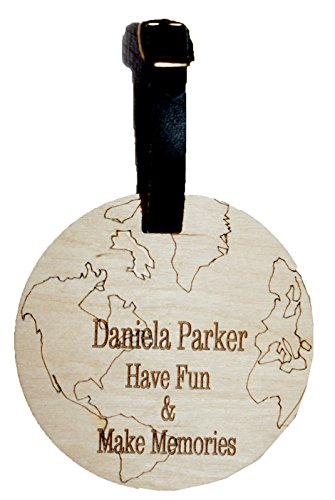 World Globe Shaped Custom Personalised Luggage Tag with Leather Strap & Buckle