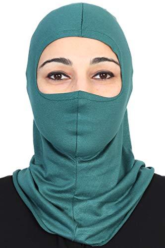 Instant Turban Cotton Lightweight Inner Bonnet Ninja Cap Balaclava Wind-Resistant Face Mask Dark Green