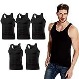 インナーシャツ メンズ タンクトップ 肌着 綿100 スリーブレス 消臭 抗菌 5枚組セット Vest-black5-M