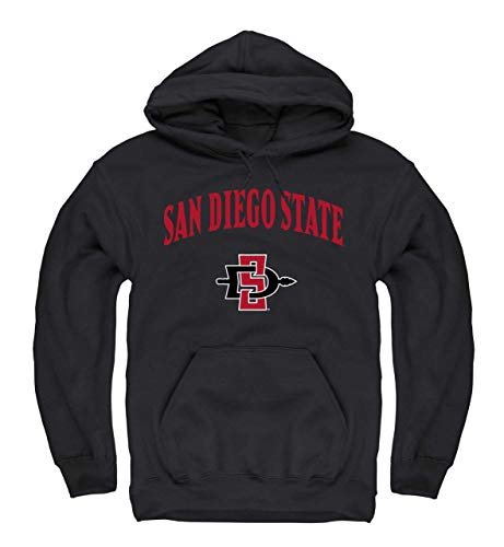 Campus Colors Adult Arch & Logo Gameday Hooded Sweatshirt (San Diego State Aztecs - Black, Small)
