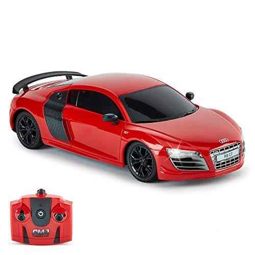 CMJ RC Cars Audi R8 GT, offizielles Lizenziertes Ferngesteuertes Auto, Spielzeit RC Flitzer Auto , 1:24 RC Car Geländewagen Auto 24Hz, Geschenk für Kinder 6-12 Jahre Anfänger (ROT)