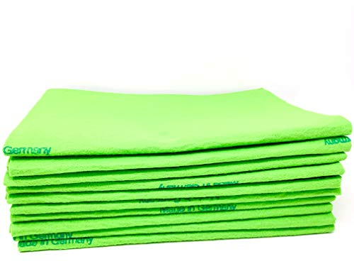 10 Pack EXTRA LARGE Original German Shammy Cloths Chamois Towels Super Absorbent For Pets, Parenting Tool Cleaning For Home And Commercial Use WHOLESALE BULK (Green)