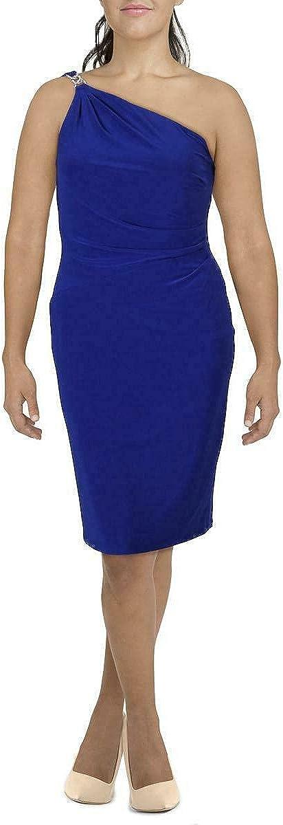 Ralph Lauren Womens Blue Sleeveless Asymmetrical Neckline Midi Sheath Party Dress Size 16